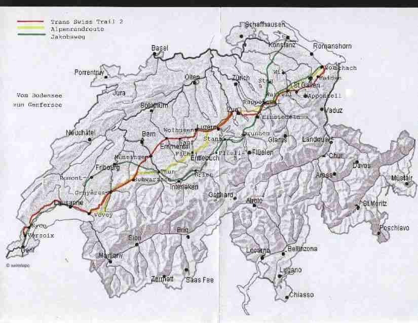 Bodensee Karte Schweiz.Alpenrandroute Fernwanderung Vom Bodensee Zum Genfersee