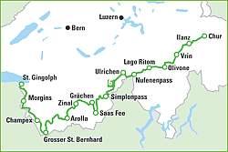 Alpenpässe Karte.Alpenpässe Weg In Einem Monat über Den Alpenbogen Von Chur Zum