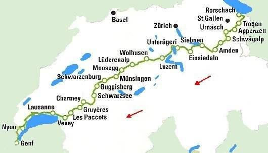 Bodensee Karte Schweiz.Alpenpanormaweg Weitwanderweg Vom Bodensee Zum Genfersee